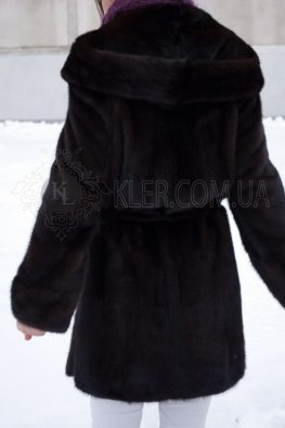 норковая шуба с капюшоном классика