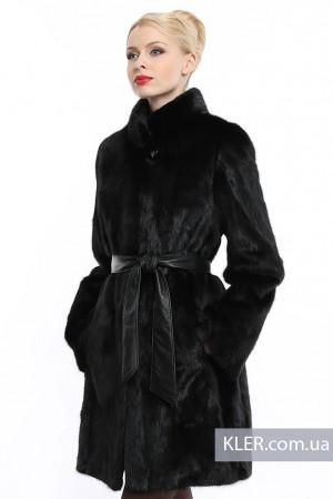 Норковая шуба черная с воротником стойка