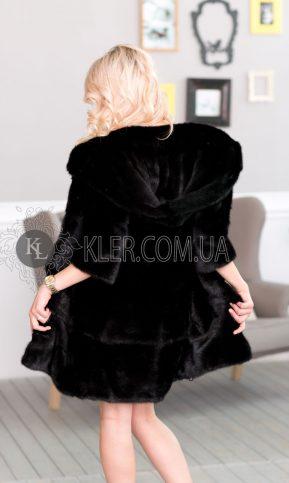 норковая шуба черная с капюшоном
