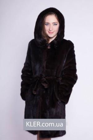 Норковая шуба халат с капюшоном коричневая