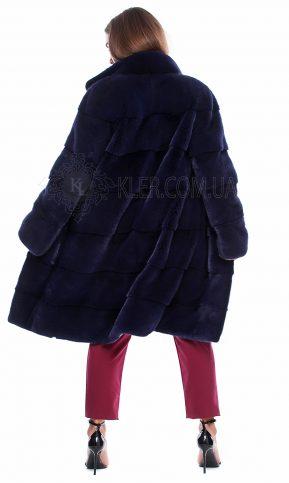 итальянская норковая шуба темно синяя