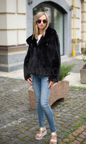 черный полушубок с капюшоном манакас блекглама