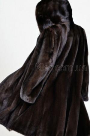 длинная норковая шуба коричневая