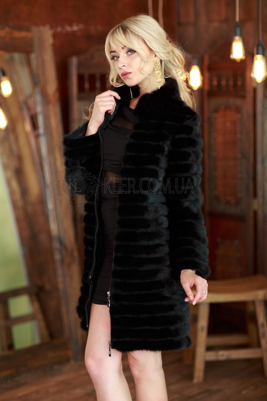 Черное меховое пальто из норки вросшив a5d87aacd1942