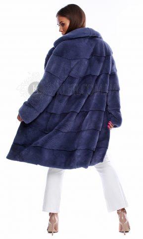 норковая шуба италия сапфир темно голубая