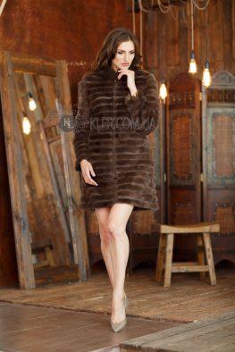меховое пальто из норки коричневое соболь