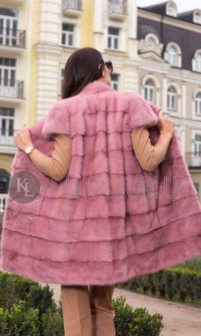 жилет из норки светлый розовый