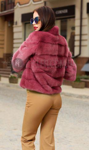 розовый полушубок из норки