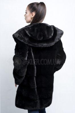 норковая шуба черная с капюшоном канадка