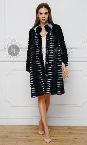 меховое пальто из кролика черное купить