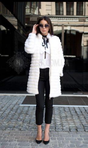 меховое пальто белая норка