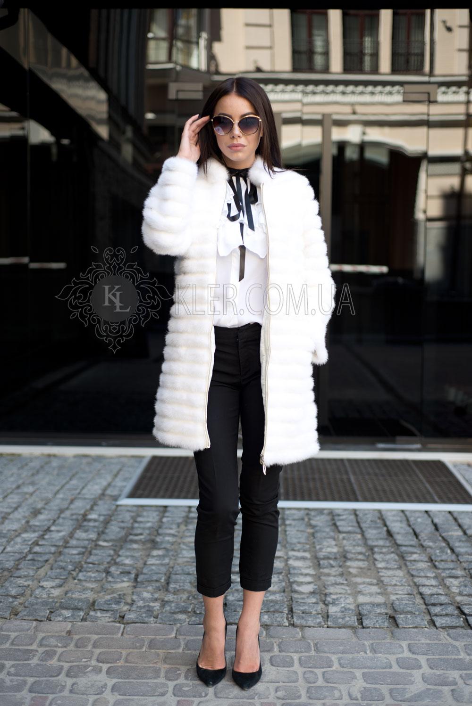 6feff8ba555 Меховое пальто из норки белое