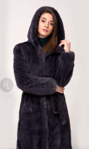 норковая шуба халат с капюшоном графит купить