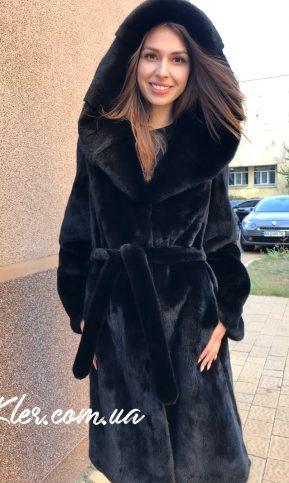 длинная норковая шуба с капюшоном черная халат из канадской норки