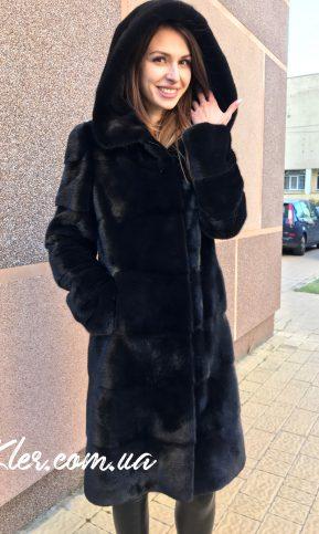 длинная норковая шуба черная с капюшоном блэкнафа
