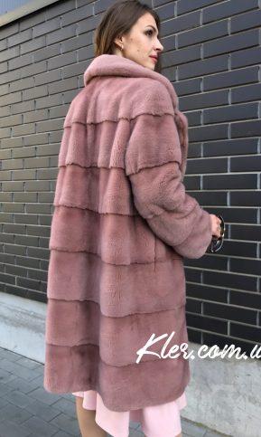 норковая шуба розовая