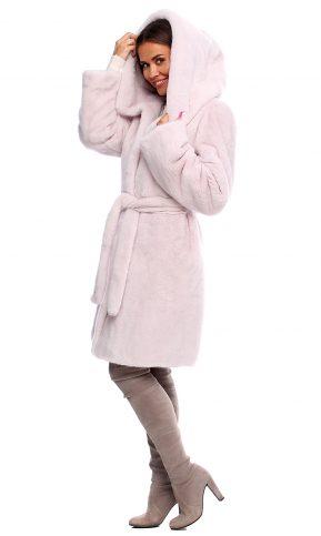 норковая шуба с капюшоном пудра халат
