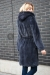 норковая шуба халат с капюшоном графит