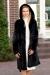 Черная норковая шуба халат 100 см