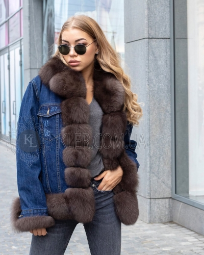 джинсовая куртка с мехом песца украина купить